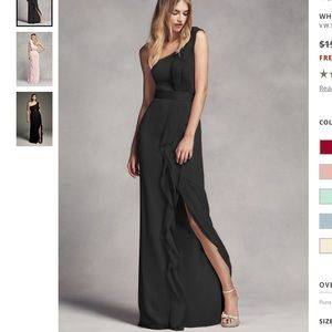 Vera Wang one shoulder ruffle bridesmaid dress